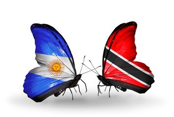 Two butterflies with flags Argentina and Trinidad and Tobago
