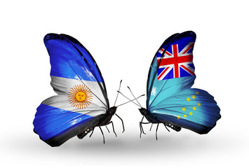 Two butterflies with flags Argentina and Tuvalu