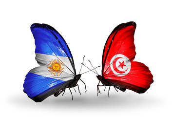 Two butterflies with flags Argentina and Tunisia