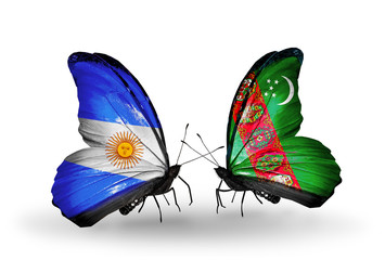 Two butterflies with flags Argentina and Turkmenistan