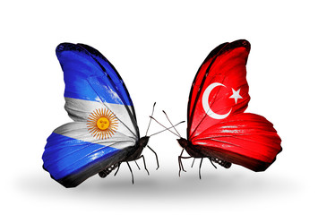 Two butterflies with flags Argentina and Turkey