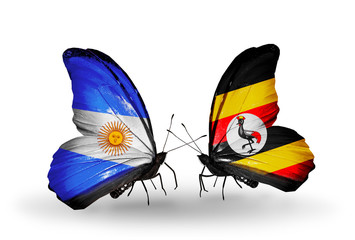 Two butterflies with flags Argentina and Uganda