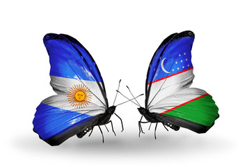 Two butterflies with flags Argentina and Uzbekistan