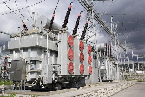 Staande foto Industrial geb. electrical power transformers