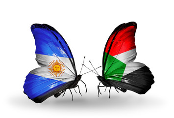 Two butterflies with flags Argentina and Sudan