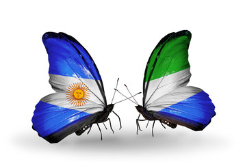 Two butterflies with flags Argentina and Sierra Leone