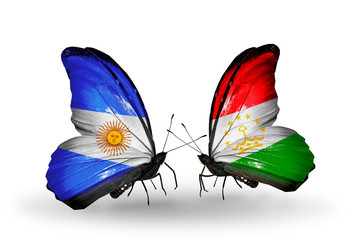 Two butterflies with flags Argentina and Tajikistan