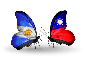 Two butterflies with flags Argentina and Taiwan