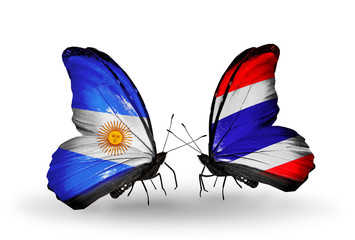 Two butterflies with flags Argentina and Thailand