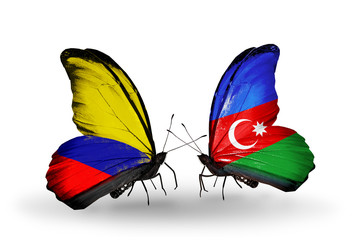 Two butterflies with flags Columbia and Azerbaijan