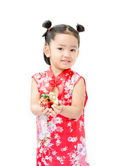 Cute asian girl in red chinese dress