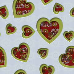 Seamless background with cut out silhouettes of hearts