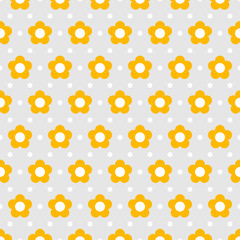 Vector Background #Flower Dot Pattern, Yellow