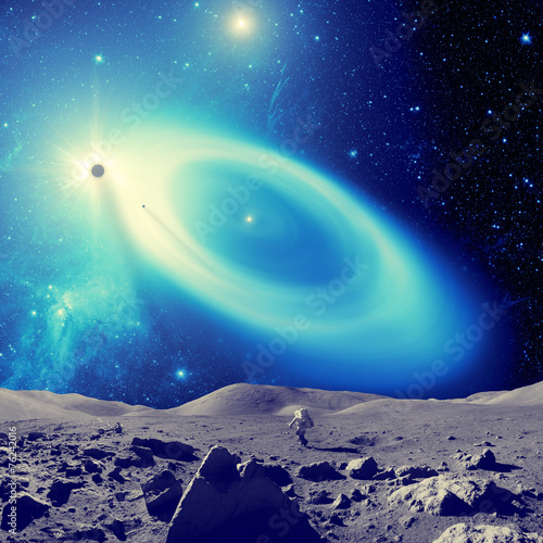 Astronaut walking on a outer-space planet. © astrosystem