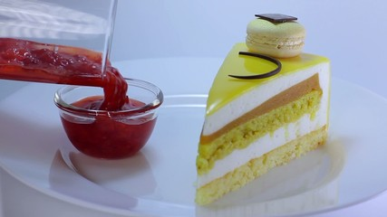 beautiful yellow cake with jam