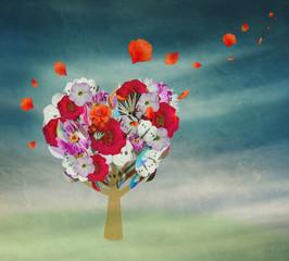 flower tree in the shape of heart, Valentine