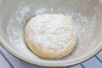 Bowl full of dough for pasta.