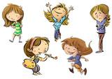 niñas en diferentes poses