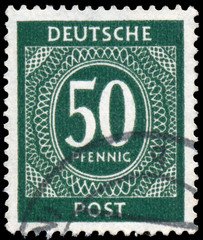 Postage stamp printed in West Germany in 1946