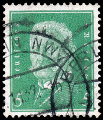 stamp printed in Germany shows Paul von Hindenburg