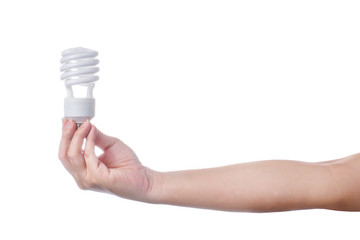 hand with energy saving lamp on white background