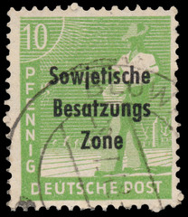 Stamp printed in Germany shows sower