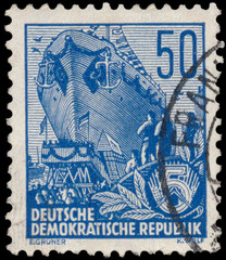 Stamp printed in GDR, shows an Ocean-going ship