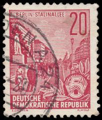 Stamp printed in GDR, shows Stalin Avenue