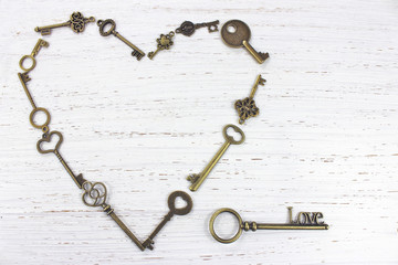 Heart shape made with old antique keys. Valentines day concept