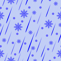 Blue abstract drops and snow
