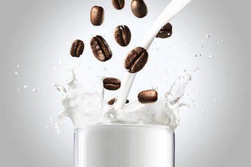 Coffee Beans Falling Into Glass of Milk Splash