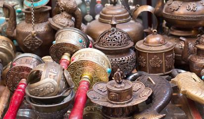 Prayer Wheels and handicraft wares at the market