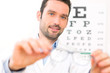 Постер, плакат: Ophthalmologist make you try new glasses