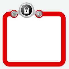 red frame for text and padlock