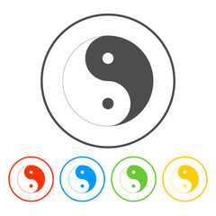 Yin Yang Symbol - Black and White Vector Illustration.