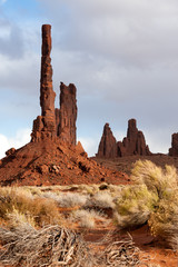 Totem pole rock formation in Monument Valley, USA