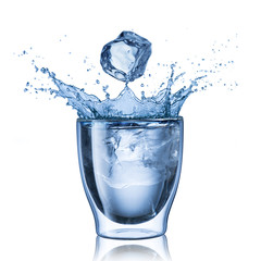 Glass Of Water Splash With Ice Cube