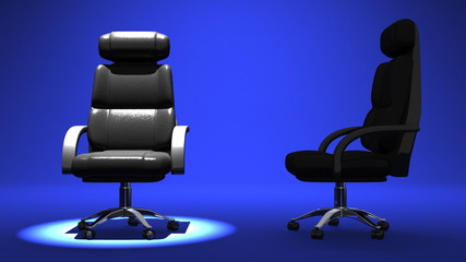 Two Spotlighted Business Chairs On Blue Background