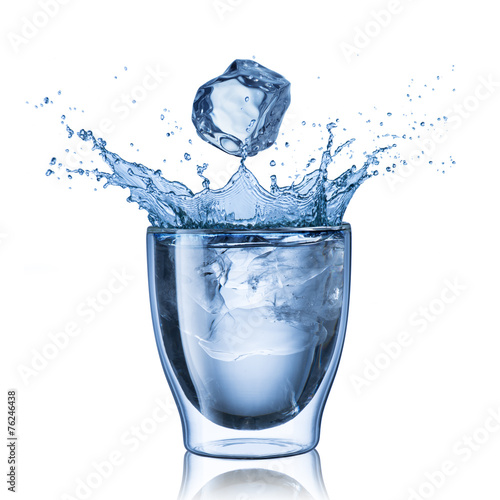 Glass Of Water Splash With Ice Cube - 76246438