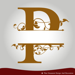 Vector of Letter P in the old vintage style.