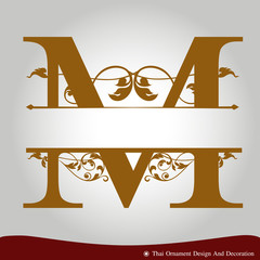 Vector of Letter M in the old vintage style.