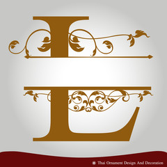 Vector of Letter L in the old vintage style.
