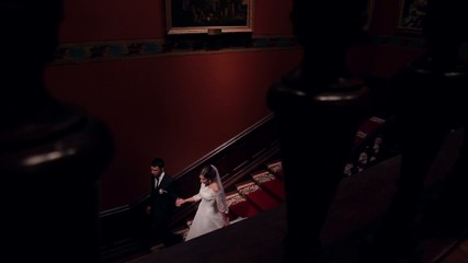 bride and groom in  beautiful theater