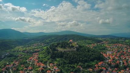 Aerial shot of town Sinj in Croatia