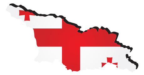 Vector map of Georgia with the image of the national flag