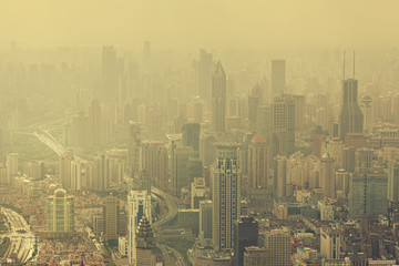 Severe air pollition in Shanghai, China