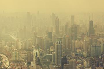 Severe air pollition in Shanghai, China