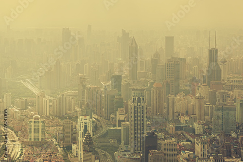 Severe air pollition in Shanghai, China - 76247895