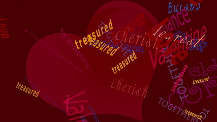 Love Words falling before a solid color background