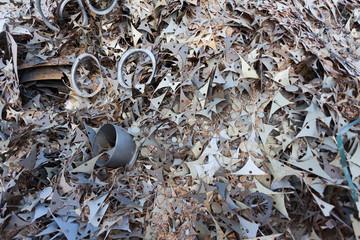 old metal elements in junkyard